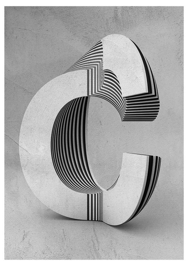Txaber typographie layer lettre C