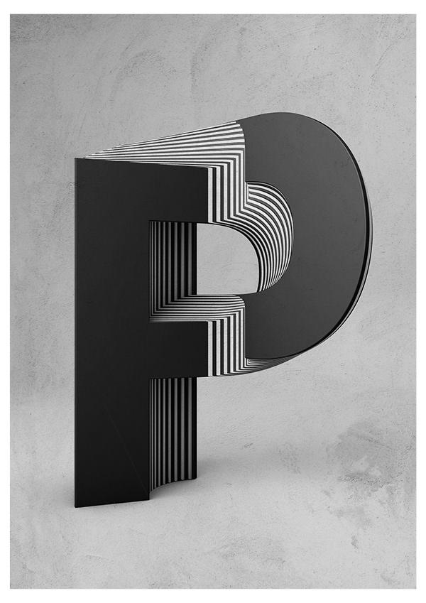 Txaber typographie layer lettre P