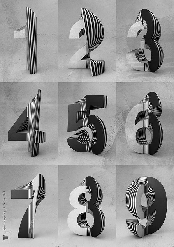 Txaber typographie layer série de chiffres