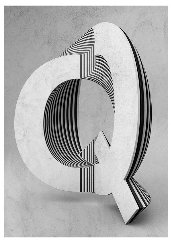 Txaber typographie layer lettre Q