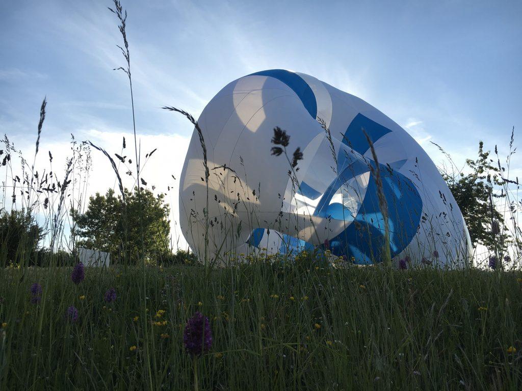 L'installation-sculpture Pezize par Dynamorphe au Jardin du Palais Saint-Georges.